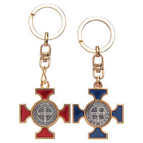 Celtic keychain in golden metal, Saint Benedict s2
