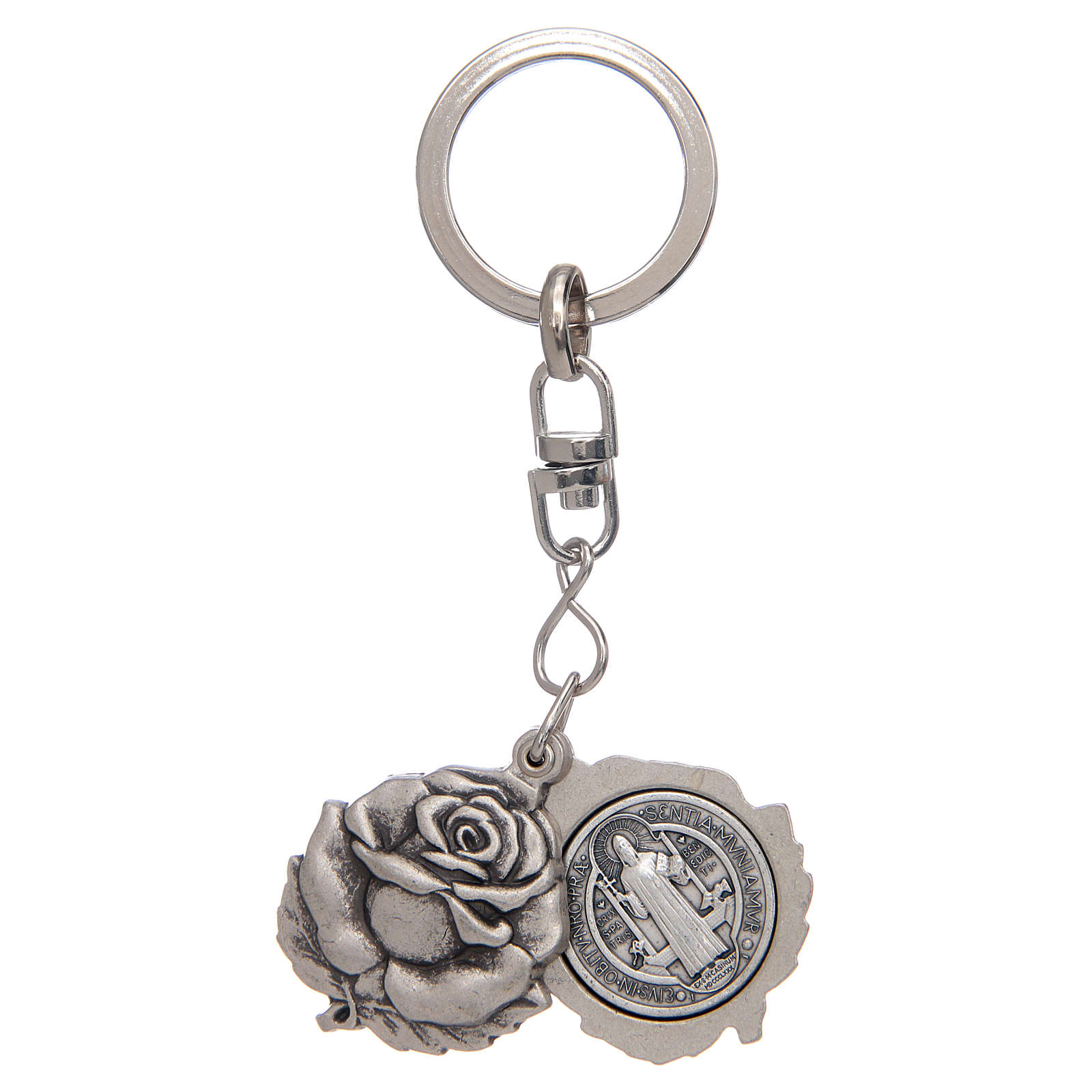 Rose shaped, silver keyring with Saint Benedict medal 3