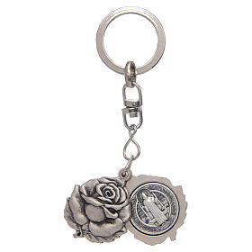 Rose shaped, silver keyring with Saint Benedict medal s1