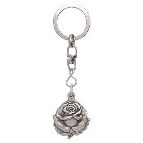 Brelok posrebrzany róża święty Benedykt s3