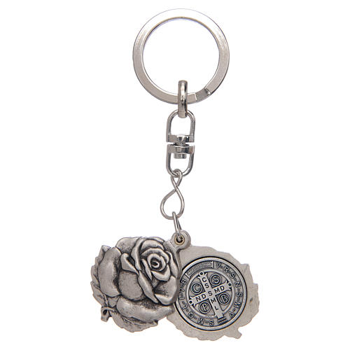 Rose shaped, silver keyring with Saint Benedict medal 2