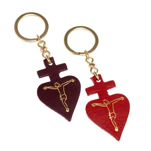 Porte-clefs coeur en cuir Saint Antoine de Padova 1