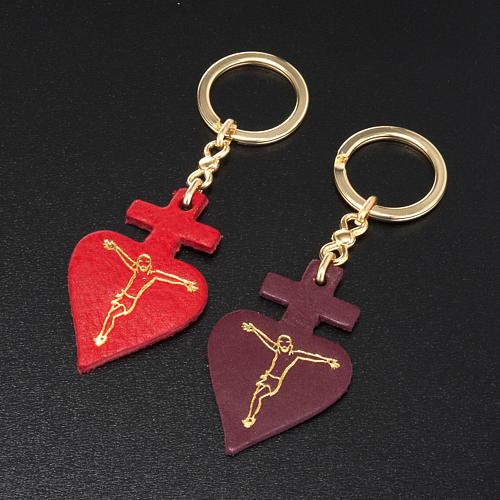 Porte-clefs coeur en cuir Saint Antoine de Padova 2