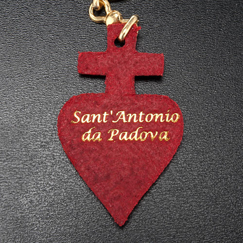Porte-clefs coeur en cuir Saint Antoine de Padova 3