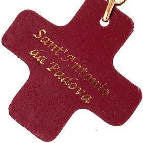 Porte-clefs en cuir, croix carrée, St Antoine de Padova s2