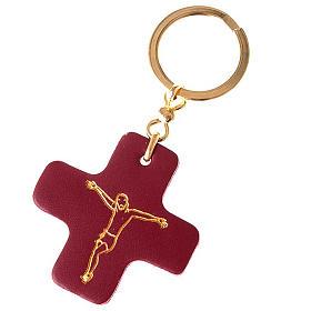 Portachiavi croce quadrata cuoio S.Antonio Padova s1
