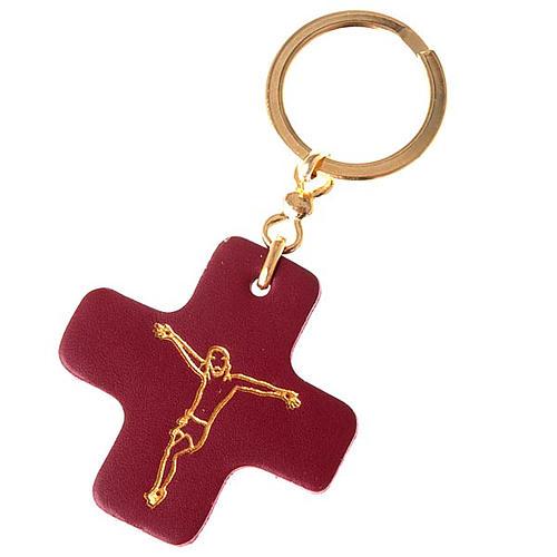 Portachiavi croce quadrata cuoio S.Antonio Padova 1