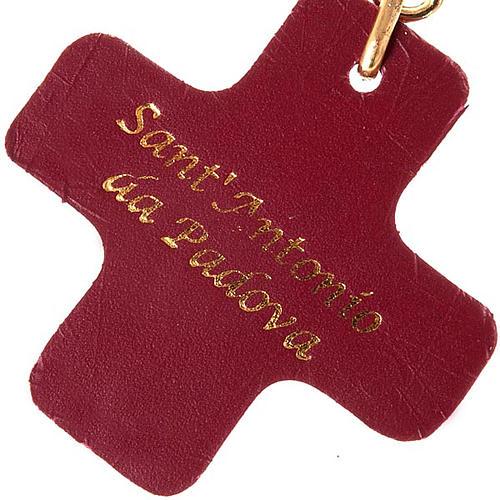 Portachiavi croce quadrata cuoio S.Antonio Padova 2