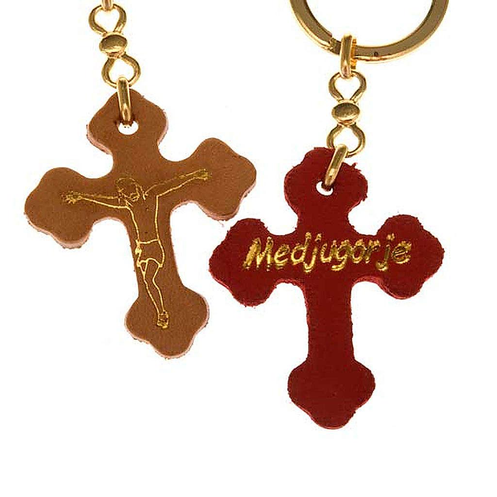 Porte-clefs croix trilobée cuir Medjugorje 3