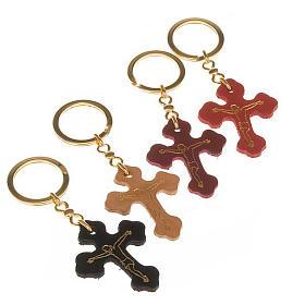 Porte-clefs croix trilobée cuir Medjugorje s1
