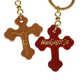 Porte-clefs croix trilobée cuir Medjugorje s3