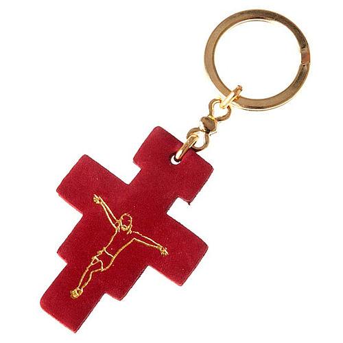 Porte-clefs croix Saint Damien en cuir 1