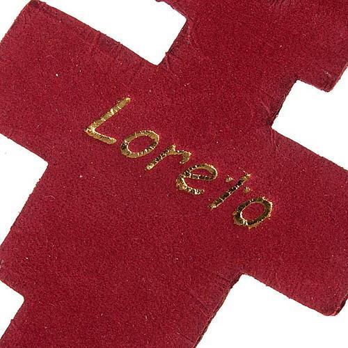 Porte-clefs croix Saint Damien en cuir 2
