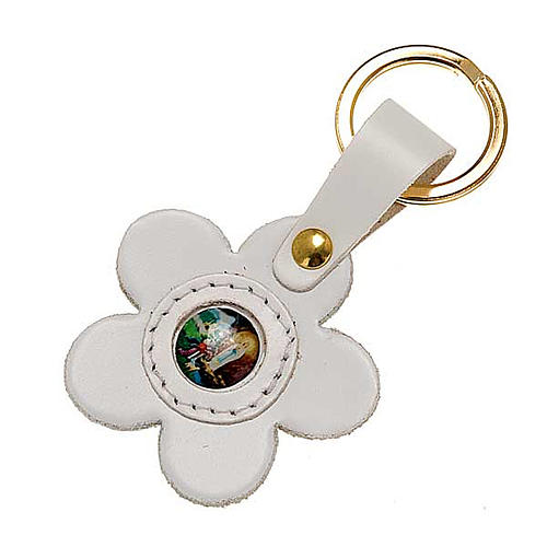 Our Lady of Lourdes leather key ring, flower 1