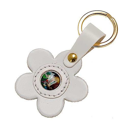 Porte-clefs cuir Notre dame de Lourdes fleur