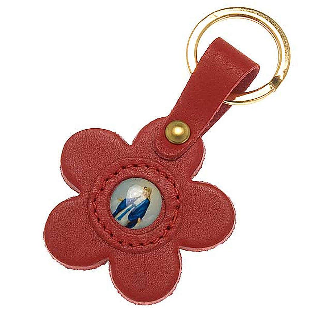 Porte-clefs cuir Vierge Miraculeuse fleur 3