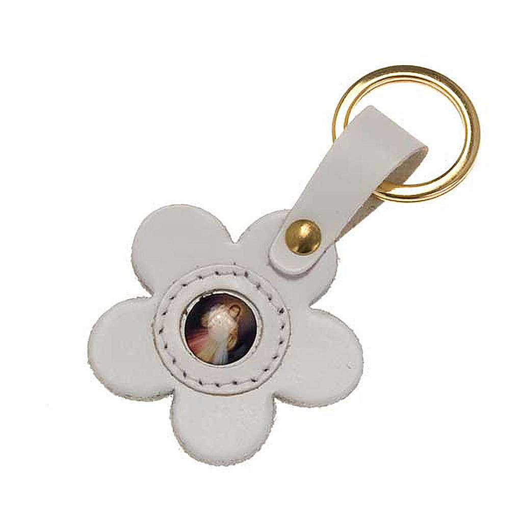 Divine Mercy leather key ring, flower 3
