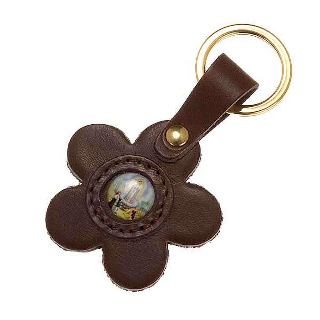 Porte-clefs cuir Notre Dame de Fatima fleur 3