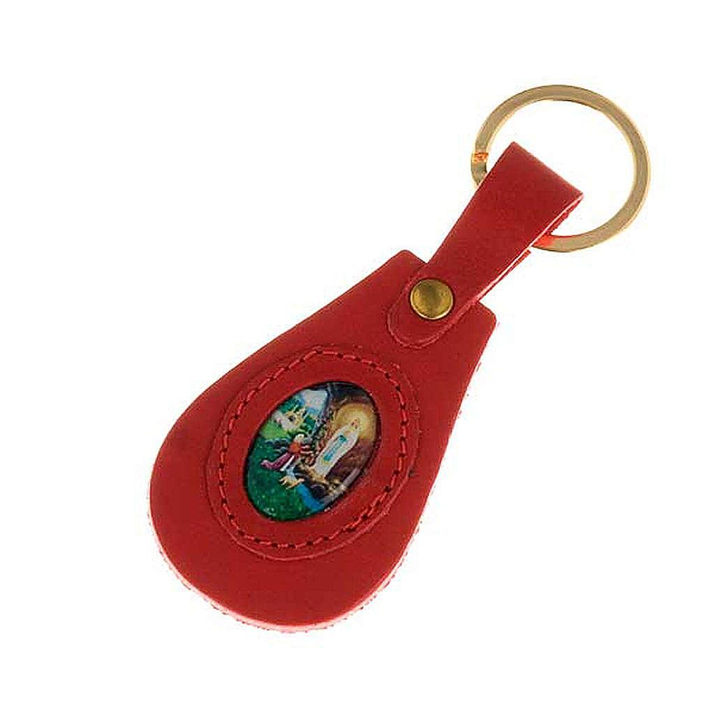 Porte-clefs cuir Notre Dame de Lourdes ovale 3