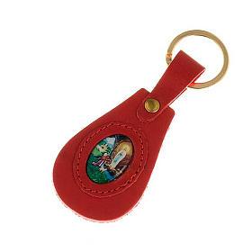 Porte-clefs cuir Notre Dame de Lourdes ovale
