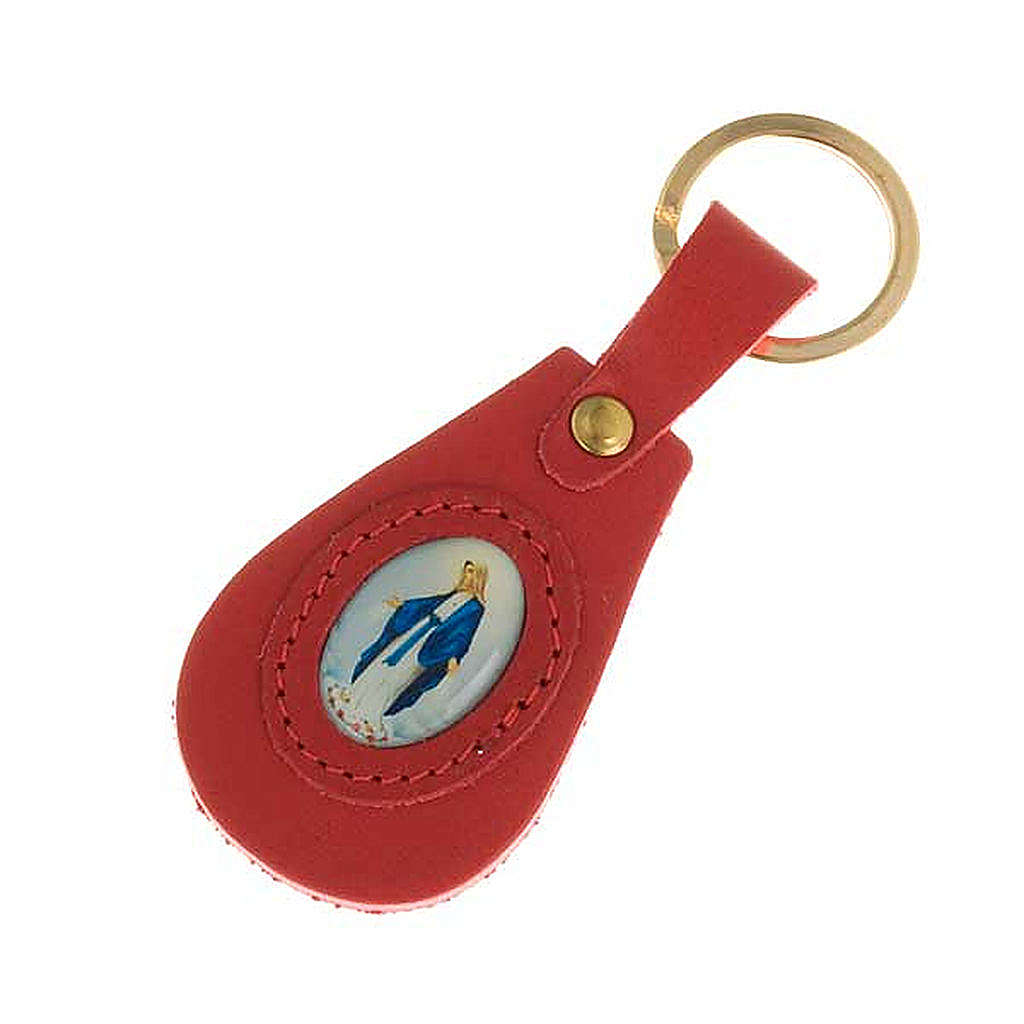 Miraculous Virgin leather key ring, oval 3