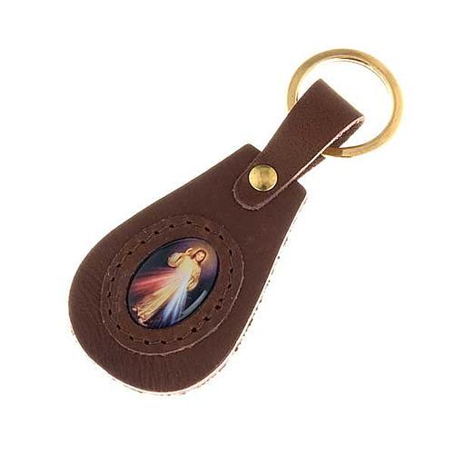 Porte-clefs cuir Divine Miséricorde ovale 1