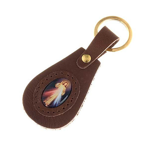 Divine Mercy leather key ring, oval 1