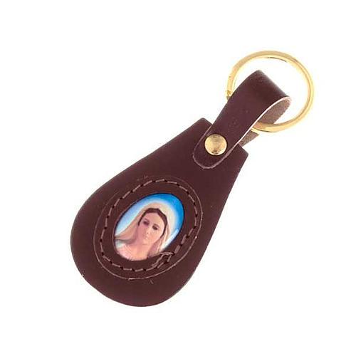 Portachiavi pelle Madonna Medjugorje ovale 1