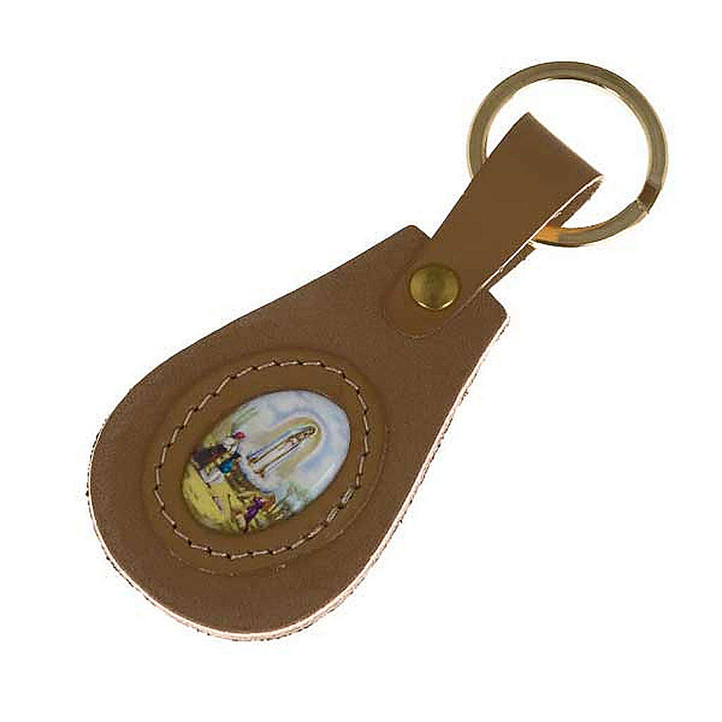 Our Lady of Fatima leather key ring, oval 3