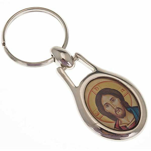 Christ Pantocrator key ring in stainless steel 1