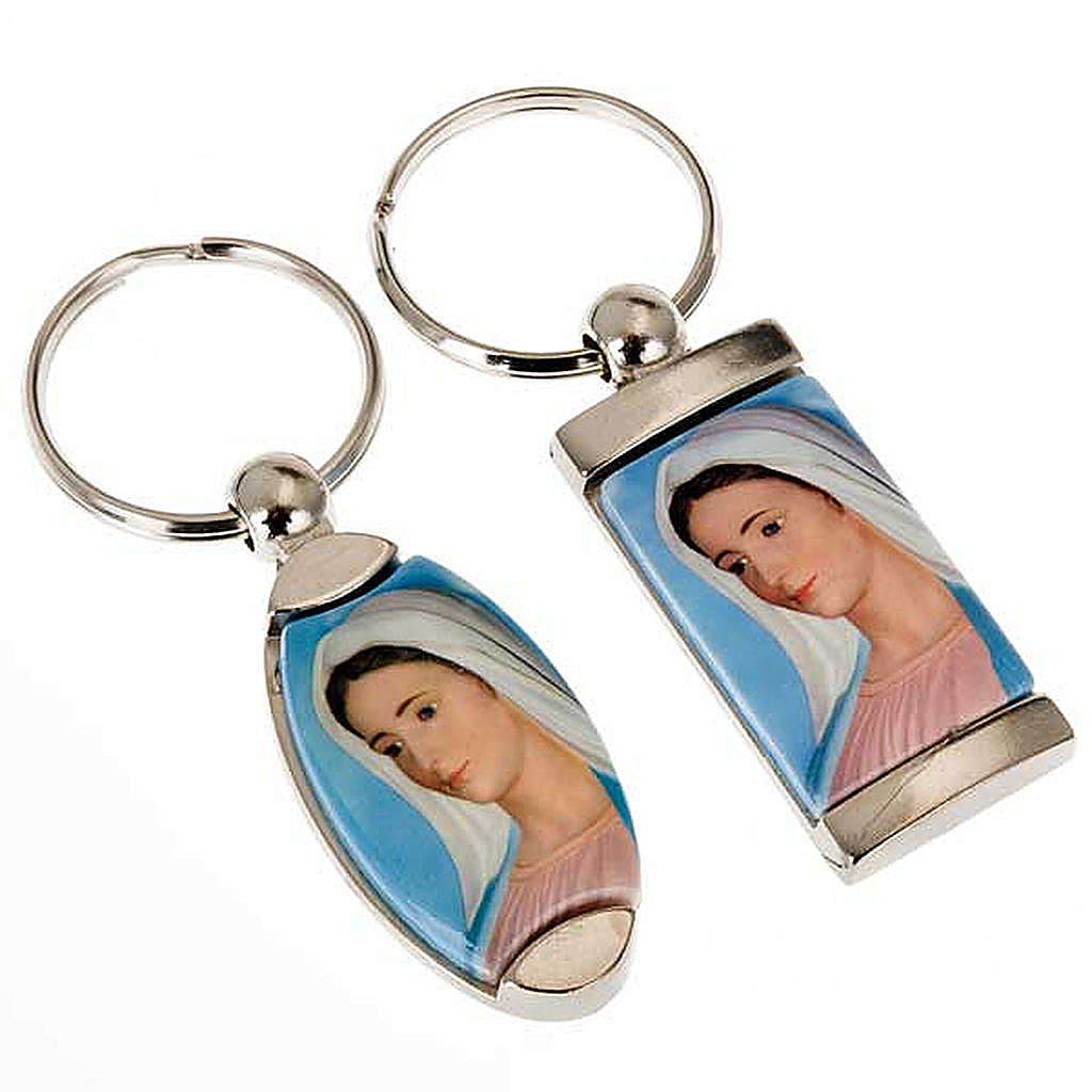 Keyring in metal with image of Our Lady of Medjugorje 3