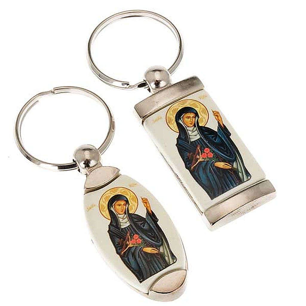 Portachiavi metallo icona Santa Rita 3