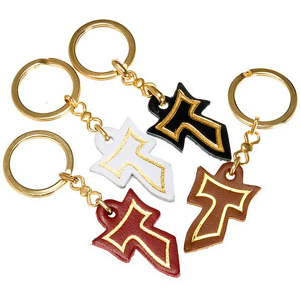 Keyring in leather with golden Tau 3