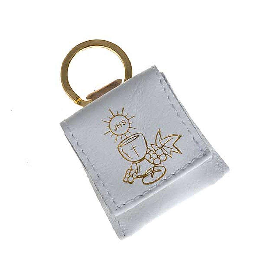 Porte-clés cuir blanc calice raisins IHS 3