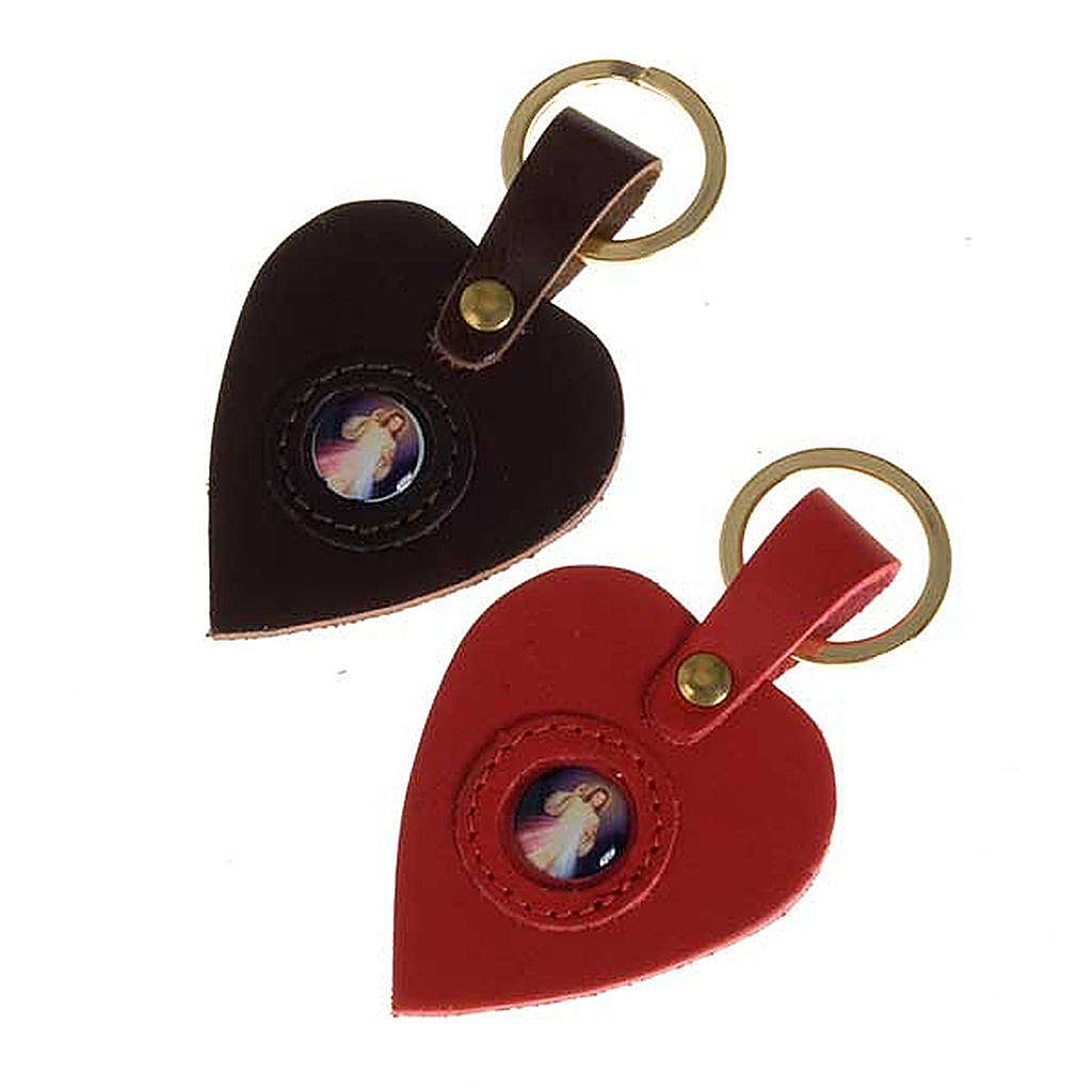 Heart shaped keyring with the Divine Mercy 3