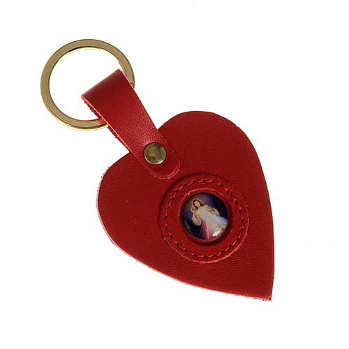 Heart shaped keyring with the Divine Mercy 2