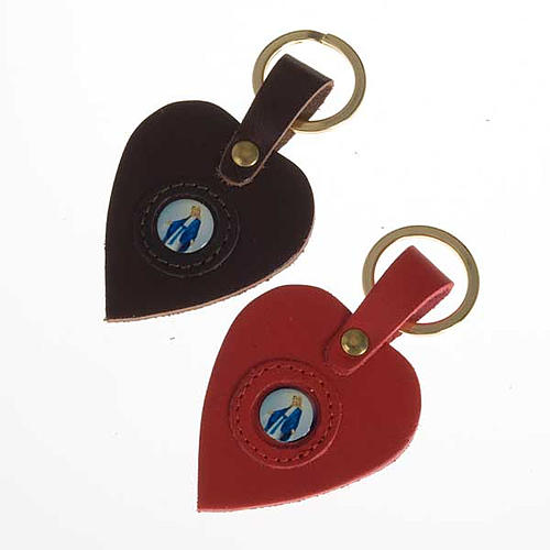 Heart shaped keyring with Miraculous Madonna 1