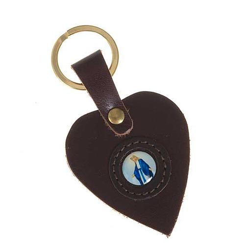 Portachiavi cuore pelle Madonna Miracolosa 2