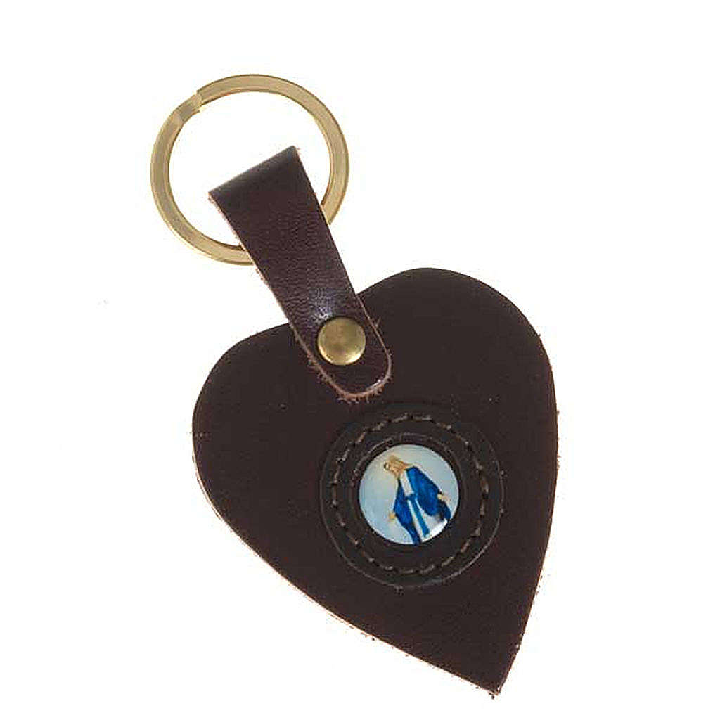 Heart shaped keyring with Miraculous Madonna 3