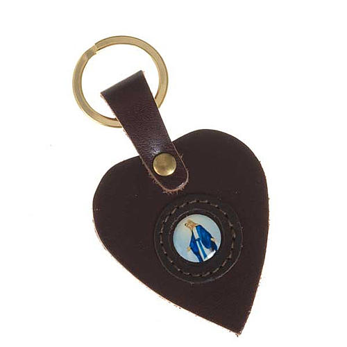 Heart shaped keyring with Miraculous Madonna 2