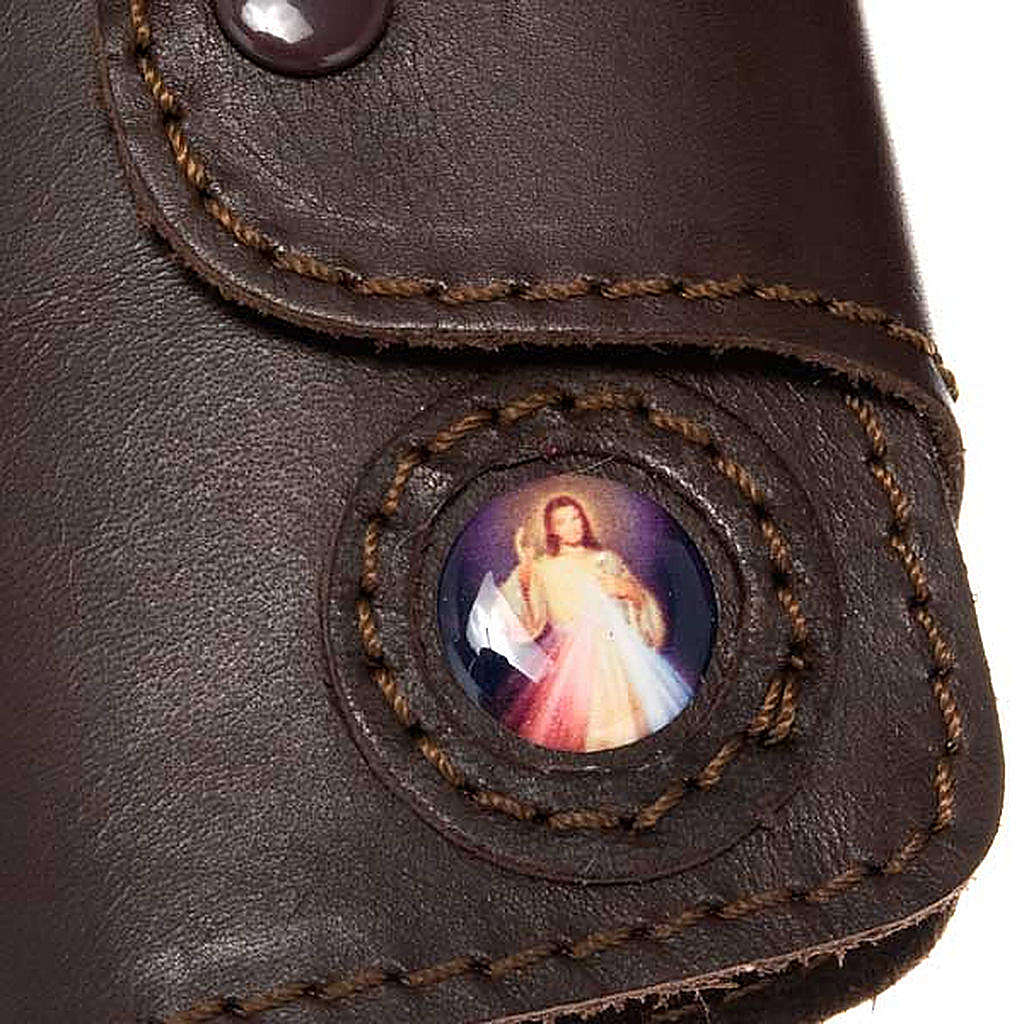 Key case in leather with 6 hooks, Jesus image 3