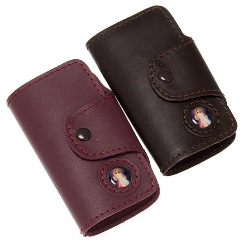 Key case in leather with 6 hooks, Jesus image 1
