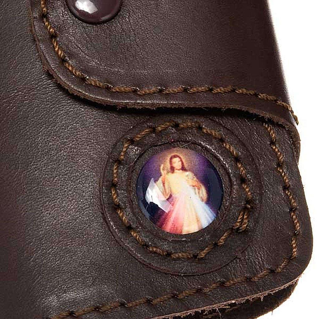 Llavero de Jesús 6 ganchos en cuero 3