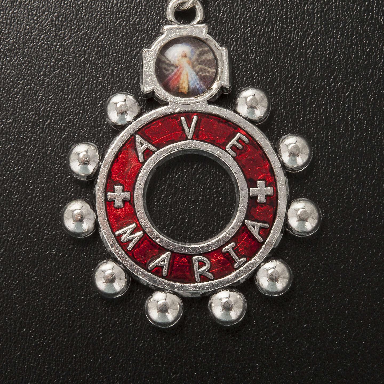 Llavero anillo esmalte rojo del Ave María (Italiano) 3
