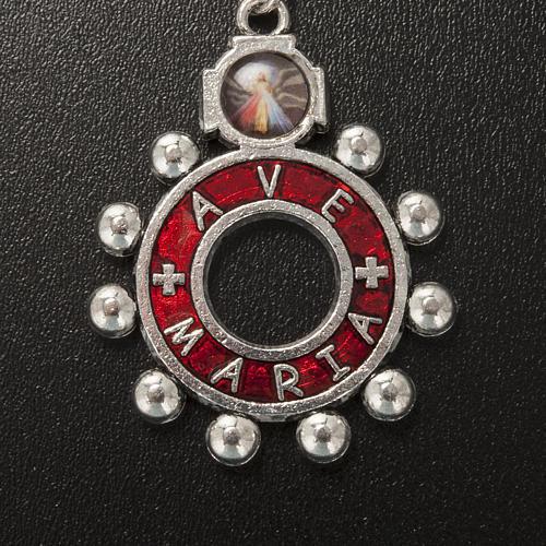 Llavero anillo esmalte rojo del Ave María (Italiano) 2