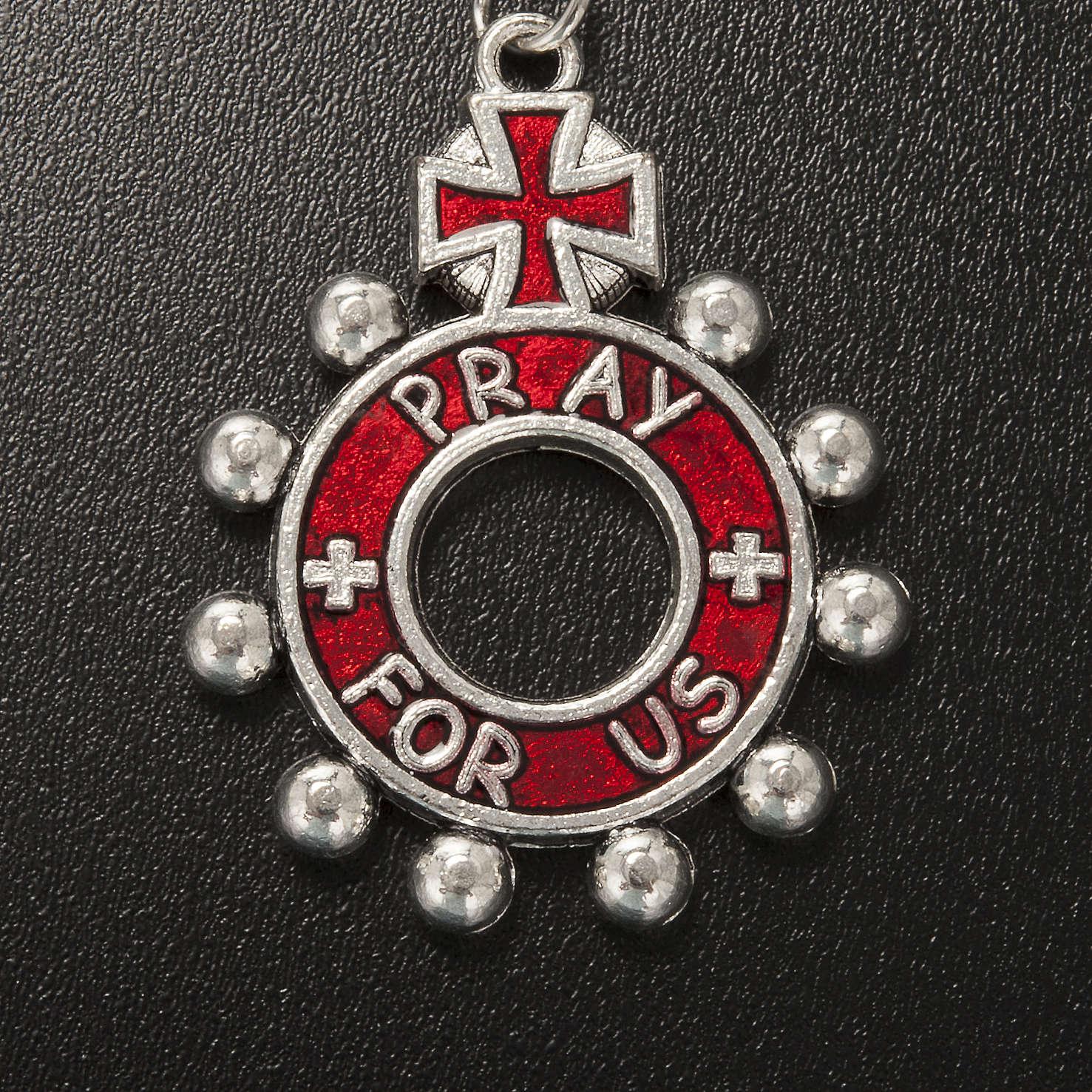 Porte clé anneau émail rouge Je Vous Salue Marie ENG 3