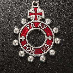 Porte clé anneau émail rouge Je Vous Salue Marie ENG s3