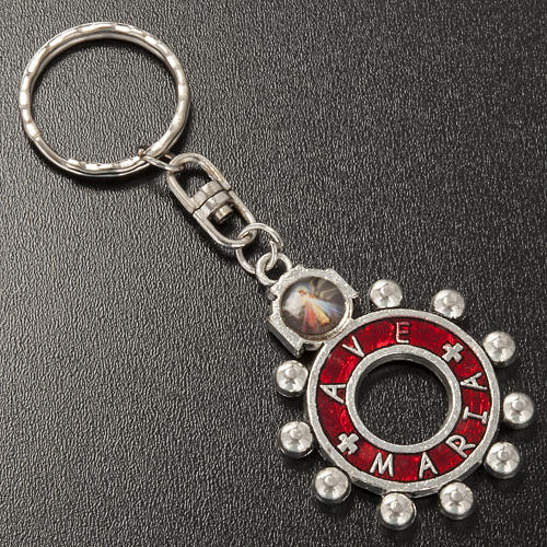 Porte clé anneau émail rouge Je Vous Salue Marie ENG 2