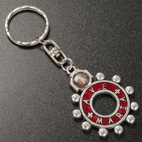 Portachiavi anello smalto rosso Ave Maria (inglese) 2