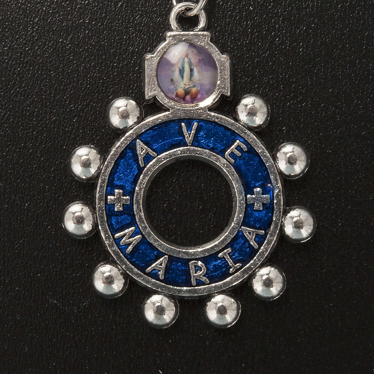 Portachiavi anello smalto blu Ave Maria (inglese) 3